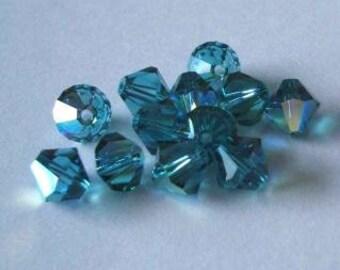 144 SWAROVSKI 5328 Bicone Crystal Beads 4mm INDICOLITE AB