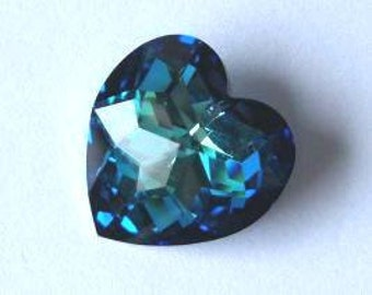 1 SWarovSKI 6215 Disco Heart Crystal Bead 18mm BERMUDA BLUE