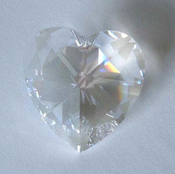1 Large SWAROVSKI 6202 Heart Crystal Bead 40mm MOONLIGHT