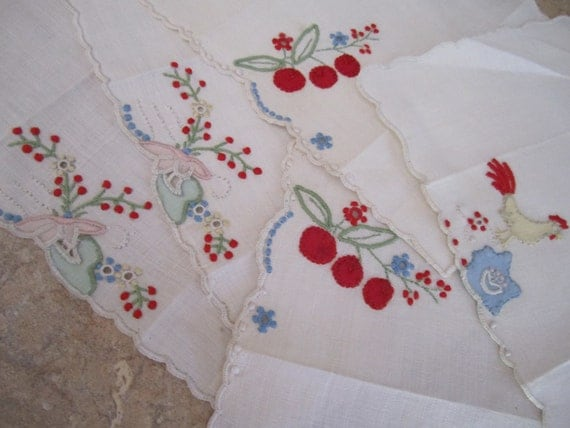 Five, vintage small linen hankies, Hand Embroidery, Portugal.