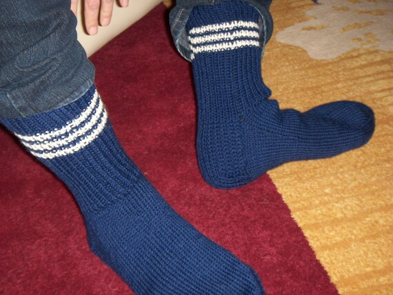BluesOn -GENEROUSLY sized Mens Boot Socks, Hand Knitted, Warm Durable Cozy, 75% wool, Machine washable at 40C, made in FINLAND