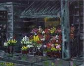"fine art print, acrylic painting, 5""x7"" art print, London flower shop."