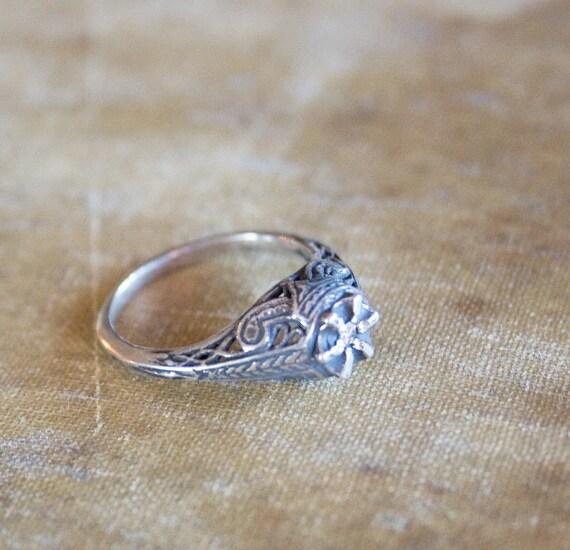 Antique Edwardian Diamond Ring . 1890s Jewelry . Sterling Silver Genuine Diamond
