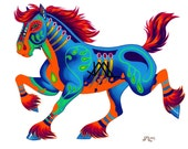 "Oaxacan Horse original colored pencil painting 11"" x 17"" prints"