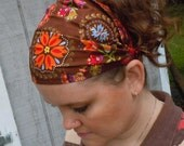 Brown PA Dutch Wide Headband / Headcovering / Head Wrap