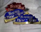 3 Vintage New Years Eve Cobalt Blue and Red Head Bands