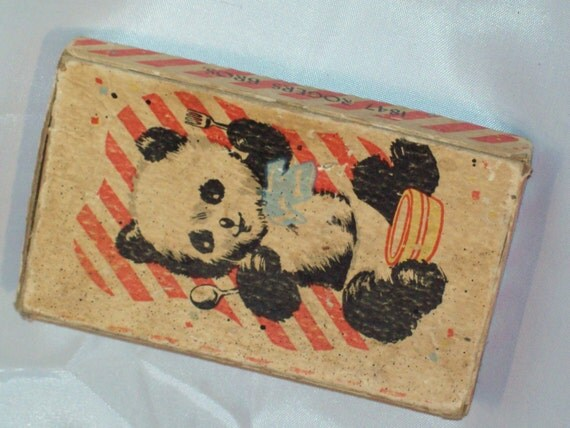 Antique Panda Bear Baby Boxed Silver Baby Spoons SALE
