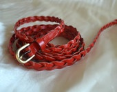 PLUS LENGTH Red Extra Long Leather Skinny Braided Belt