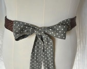 PLUS LENGTH Green Polka Dot and Bronze Rope Braided Extra Long Sash Belt