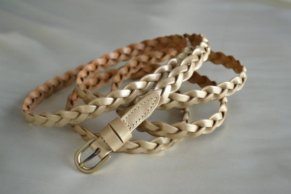 PLUS LENGTH Light Gold Extra Long Leather Skinny Braided Belt