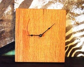Vintage Wall Clock, Butcher Block Style, Solid Oak, Simple,  Oak with Med. Matte finish.