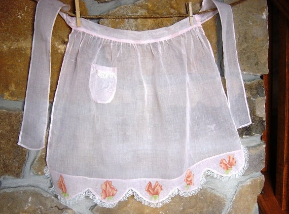 Vintage Lace Trimmed Semi Sheer Apron, Light Peach with Sweet Peas, Pocket, Lace, Hostess, Kitchen