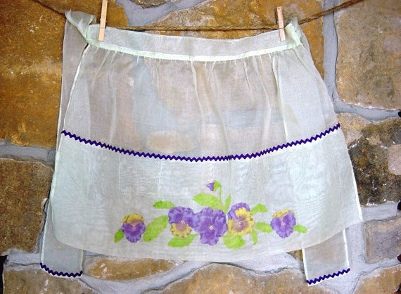 Sheer Hostess Apron with Purple and Yellow Pansies, Purple Ric-Rac. Hand Sewn Trim.