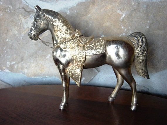 Brass Horse with Chain Reins, Large Brass Colored Horse Sculpture, Cast Metal Sculpture