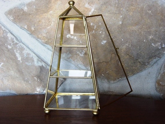 Brass and Glass Box, Steampunk, Victorian, Curiosity box, Curio, Mysterious, Mystical, Clear Glass Box with Shelves, Pyramid Shaped