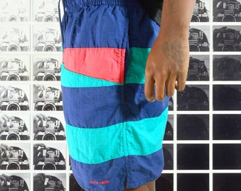 Surf Clothing/ Board Shorts/ Mens Shorts/ Swimming Trunks/ Color Block Shorts/ Geometric Print/ 90s Mens Shorts/ Color Block Shirt