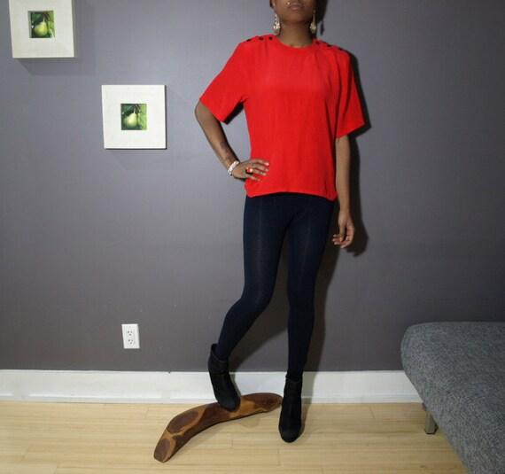 Silk Shirt/ Silk Tee/  Red Blouse/ Red Silk Shirt/ Silk Blouse/ Crop Top / Short Sleeve Blouse/ Cap Sleeve/ 80s Womens Shirt/  Silk T Shirt