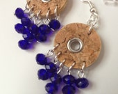 Cobalt Crystal Chevron Grommet and Cork Earrings