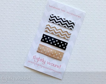 Baby Hair Clips - Neutral Chevron & Swiss Dots Set - Baby/Infant/Toddler/Girls