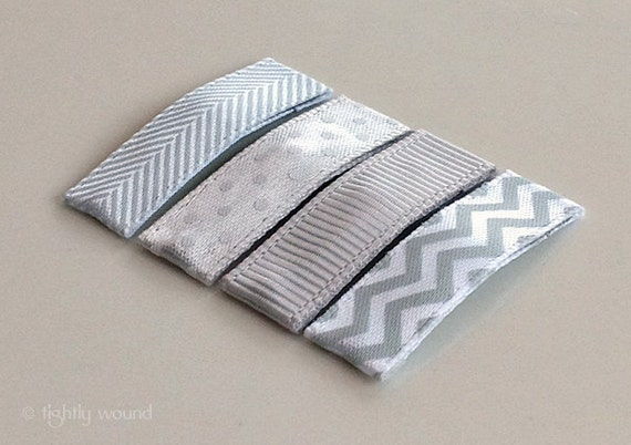 Baby Hair Clips - Silver Chevron Set - Baby/Infant/Toddler/Girls