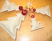 Set of 4 CHRISTMAS TREE Ornaments - Marine Glitter Vinyl - Indoor or Outdoor Ornaments - Handcrafted - Made in America