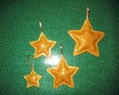 Set of 4 Gold North Star Ornaments - Marine Glitter Vinyl - Indoor or Outdoor Ornaments - Handcrafted & Made in America