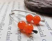 Orange Gemstone Earrings - Sterling Silver Modern Earrings - Carnelian Dangle Earrings - minimalist jewelry
