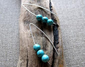 Turquoise Gemstone Earrings. Modern Sterling Silver Earrings. Cracked Stone Earrings. Summery Earrings. Threader Earrings. Delicate Earrings