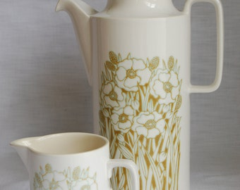 1970s Hornsea Fleur coffee pot and milk jug