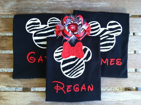 Wild About Disney - Black & White Zebra Print Applique T-Shirt, Mickey or Minnie with Red Bow, Embroidered Personalization (Name)