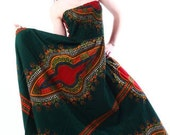ON SALE from 80 to 70 green african dashiki maxi-dress