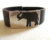 Elephant Bracelet, Silver  Leather Bracelet, Elephant Jewelry