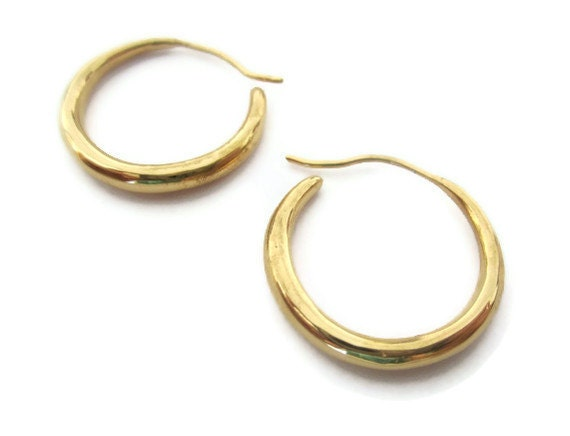 18K Gold Vermeil Hoop Earrings  Medium Round Hoops, Vermeil  Earrings,  Artisan Handmade  by Sheri Beryl