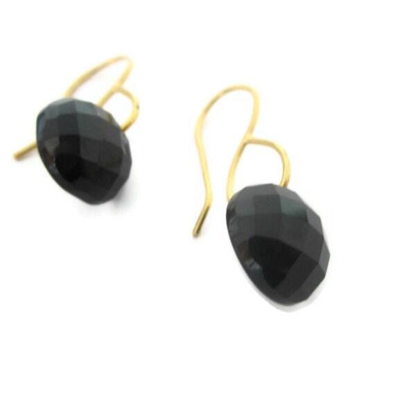 Black Sapphire Earrings, Black Earrings,Black & Gold Earrings