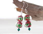 Lampwork earrings with sterling silver and Swarovski crystals - red and green