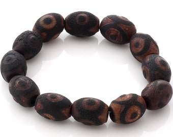 Clearance: Beaded stretch bracelet - dark chocolate brown nut beads with black ornament