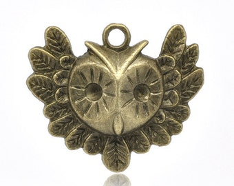 2pc Bronze Tone Owl Pendants - 35x31mm - Charm, Jewelry Making Supplies, Jewelry Finding, Nature Pendant, Ships from the USA - A9