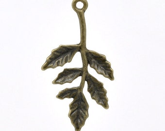 2pc Bronze Leaf Stem Charms - Necklace Finding, Jewelry Making Supplies, Jewelry Finding, Nature Pendant, Ships from the USA - N1