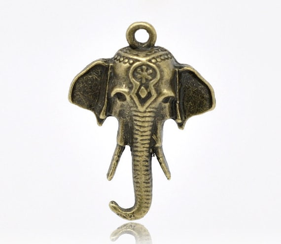 2pc Antique Bronze Elephant - 25x18mm - Charm, Jewelry Finding, Jewelry Making Supplies, Necklace, Bracelet, Ships from the USA - A2