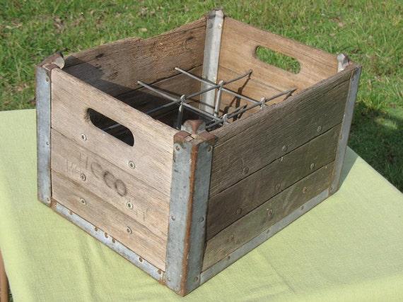 Antique Milk Crate Wood Metal Weathered