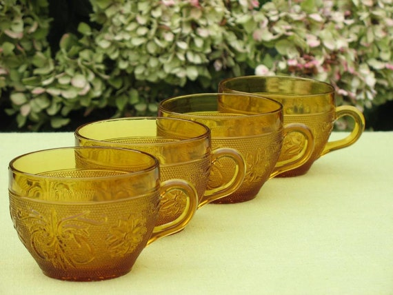 Vintage Tea Cups Amber Tiara Sandwich Pattern by Indiana Glass Company