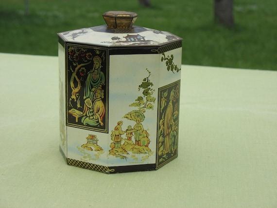 Vintage Tin Octagonal Asian Tea Tin Biscuit Tin Gold Black Cream Colored