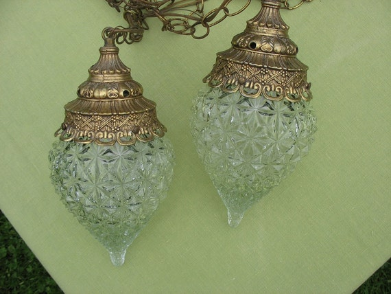 Vintage Swag Lamp Duo Hanging Light Pendant Light Clear Glass
