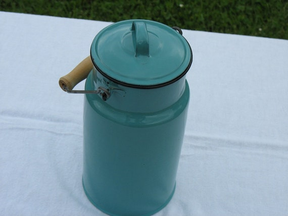 Vintage Enamelware Milk Pail Teal Blue with Wood Handle 50s Made in Poland