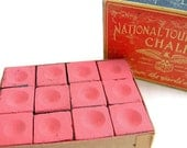 vintage pool cue chalk in original box, from National Tournament Chalk Co.