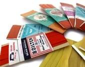 vintage seam binding, red orange yellow