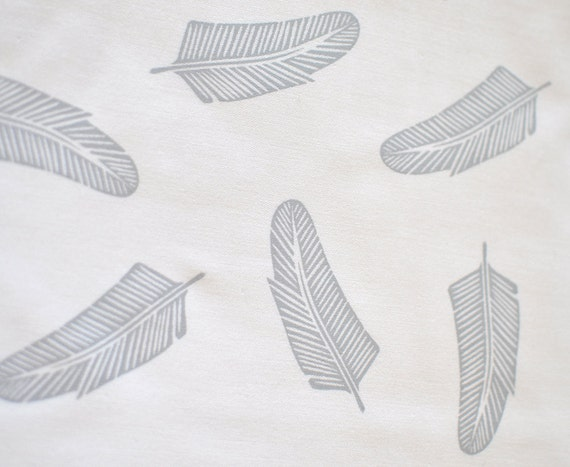 quill in pale grey on bone cotton handprinted fabric panel