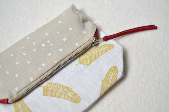 RESERVED for Nicole : handprinted linen foldover clutch with metal zipper and genuine leather accents