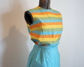Vintage 1960's Women's Silk Suit / XS Rosecrest / Fruit Stripe Gum Suit