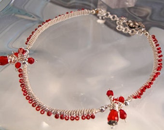Coiled and Wire Wrapped Choker with Red Crystals